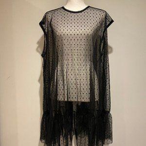 Pretty Little Thing Black Mesh Cover Up Mini Dress